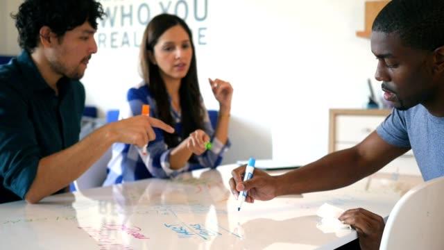 Divers bedrijf team van millennials brainstormen in moderne casual kantoor omgeving