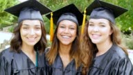 Diverse college girls have fun together after their graduation