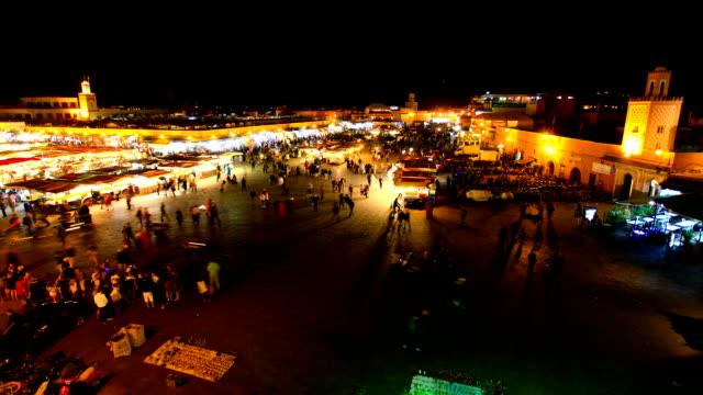 Djemma el Fna in Marrakech at Night, Morocco, Timelapse Video