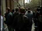 Dock Strike Threat ENGLAND London Transport House Transport House as Dockers gather outside Delegates leaving building after meeting Ron Todd...