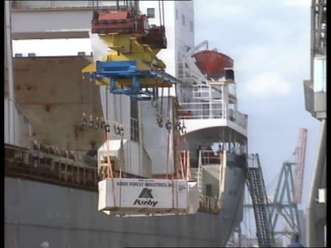 Dock Strike Threat EXT Tilbury MS Crate unloaded from ship onto dockside LIB docks by crane