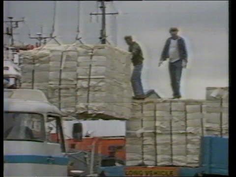 Dock Strike Threat Tilbury docks as ship unloaded = H288ITN