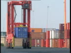 strike ballot ENGLAND Southampton Docks Container being moved around dockside by mobile container gantry / mobile container gantries manoeuvring...