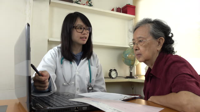 Doctor explaining medication to old woman patient with Laptop