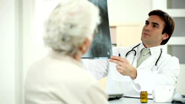 Doctor viewing X-ray with patient