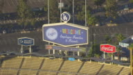WS ZO AERIAL POV Dodger stadium with Sign Landscape at Los Angeles, California