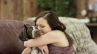 Hund umarmt