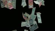 SLO MO Dollar and euro bills falling on black background