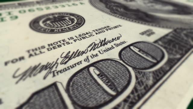Dollar Bill $100 Macro Close-up Pan