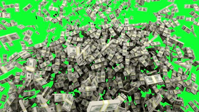 HD : Dollar money falling with Green Screen.