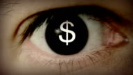Dollar sign in eye