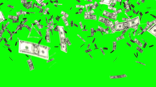 dollars bills falling chroma key
