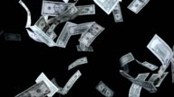 Dollars Falling Over Black Background (Super Slow Motion)
