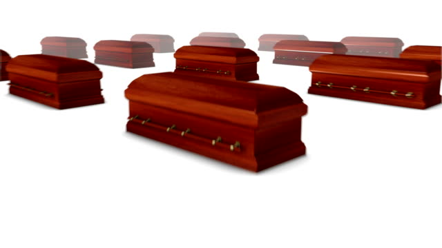 Dolly back diagonally from single Coffin revealing many Coffins (Wood)
