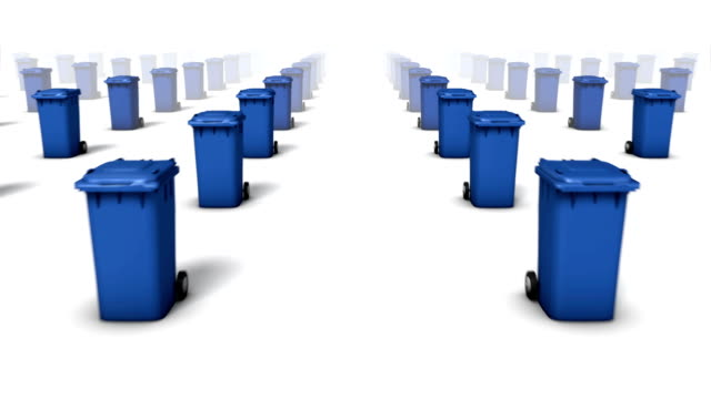 Dolly forward over many Trashcans to none (Blue)