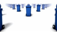 Dolly over many Trashcans to single a Trashcan (Blue)