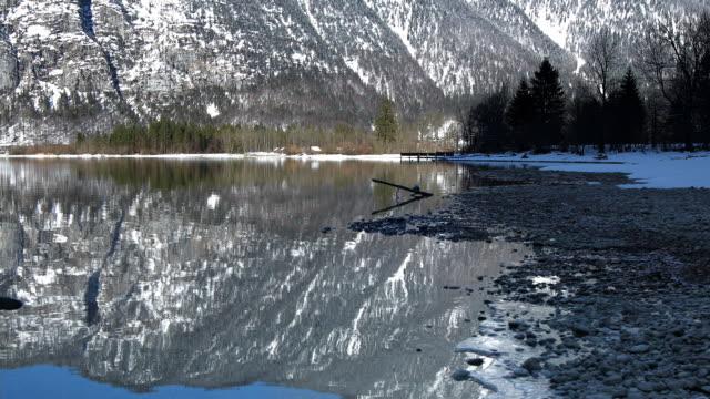 Dolly shot across Lake Hallstatt