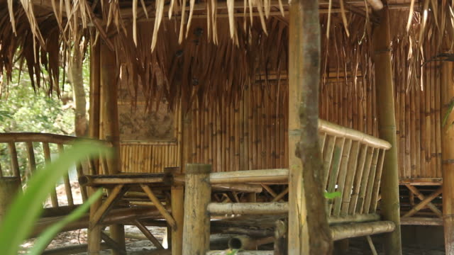 Dolly shot bamboo cottage