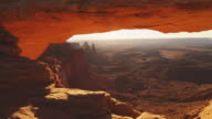 Dolly shot, canyon landscape in Arches National Park
