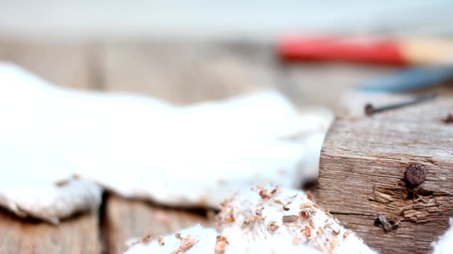 Dolly girato : Carpentiere strumenti in legno vecchio.