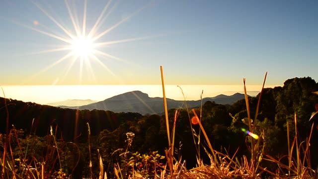 Dolly Shot: Mountain Scenic Landscape at Sunrise