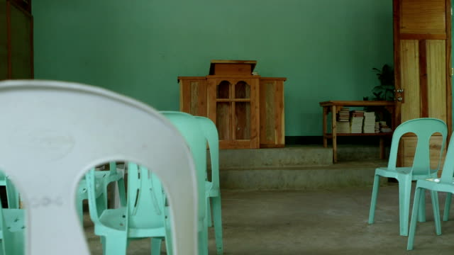 Dolly shot of a simple church in the 3rd world