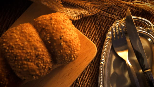 Dolly shot of bread with dish