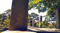Dolly shot of Bridge in the park.
