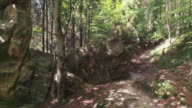 Dolly shot of huge rock boulders