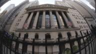 Dolly shot of New York City's Wall Street.