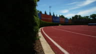 Dolly shot of track at Princeton University Track and field