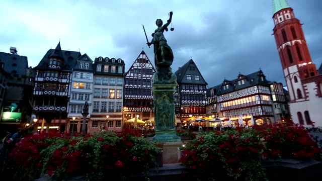 Dolly Shot: Pedestrian crowded at Romerberg Town square Frankfurt Germany sunset