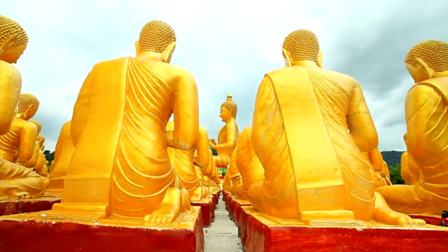 Kamerafahrt mit Dolly: Reihe von Buddhas im Tempel