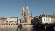 Dolly shot towards Grossmuenster Cathedral