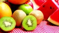 Dolly shot: Variety of fruits of fresh