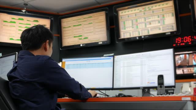 Dolly girato: Youngman lavoro in sala di controllo