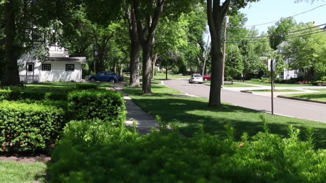Dolly tracking shot, generic homes and street