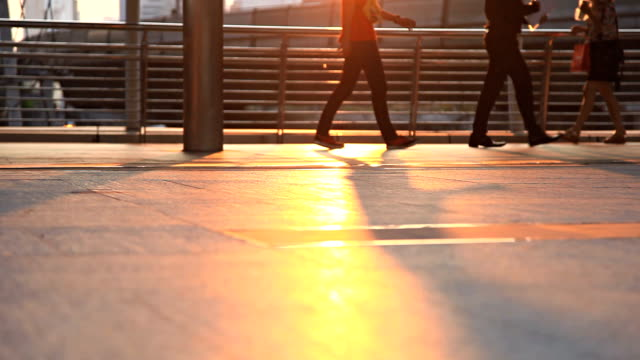 HD Dolly:People walking on a public footpath.