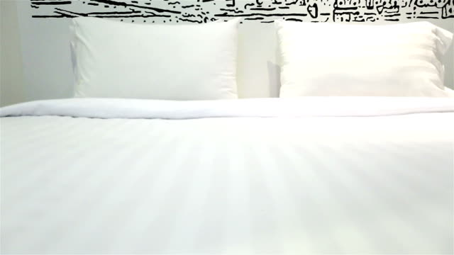 HD Dolly:Pillows placed on the bed