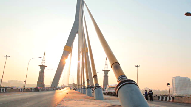 Dolly:Rama VIII Bridge in morning at bangkok city.