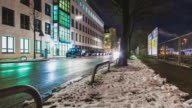 T/L Dollyshot at Friedenstrasse in Munich - long exposure - cars passing by - winter