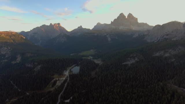 Dolomites aerial drone view. Auronzo di Cadore, italy.