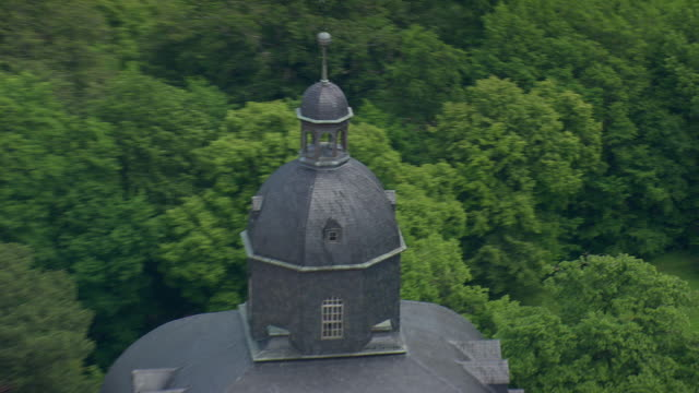 CU AERIAL ZO Dome of Friedenstein castle at Gotha with houses and trees / Germany