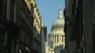MS, Dome of St Paul's Cathedral seen from Watling Street, London, England