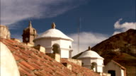 Domed towers line the rooftops of Potosi, Bolivia. Available in HD.