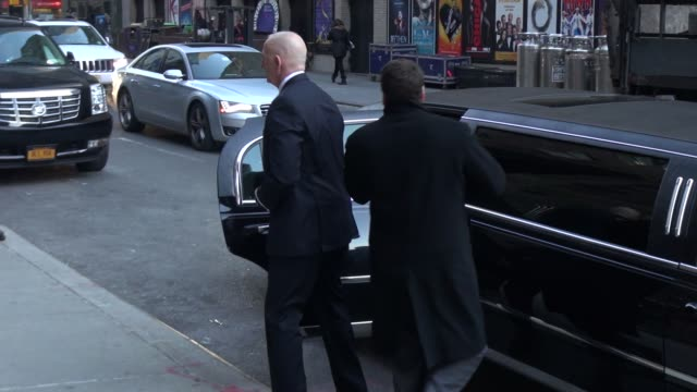 Donald Trump arrives at the Late Show with David Letterman in New York City in Celebrity Sightings in New York