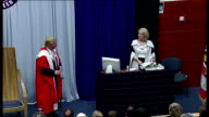 Donald Trump awarded Honorary Degree by Robert Gordon University in Aberdeen ** BEWARE Sir Ian Wood opening remarks SOT Trump seated smiling...
