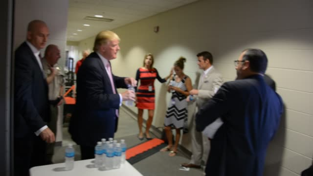 Donald Trump Backstage After Iowa Speech Seeking Approval From Chuck Laudner and Iowa Team Asking About How Many Press Are At Next Event