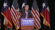Donald Trump campaigns in Houston Texas walks on stage crowd shots Soundbite says the number one threat to the US is militant islam not guns