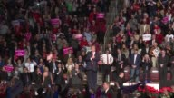Donald Trump finishes his thank you tour speech in Herhsey Pennsylvania and leaves the stage